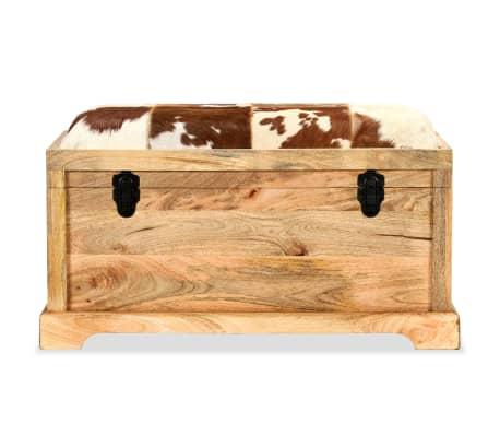 vidaXL Lavice z masivního mangového dřeva a pravé kůže 80 x 44 x 44 cm[2/15]