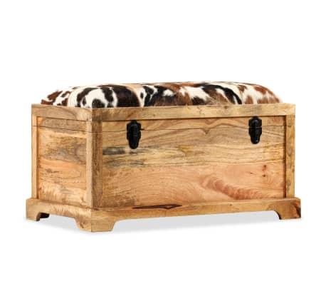 vidaXL Lavice z masivního mangového dřeva a pravé kůže 80 x 44 x 44 cm[11/15]
