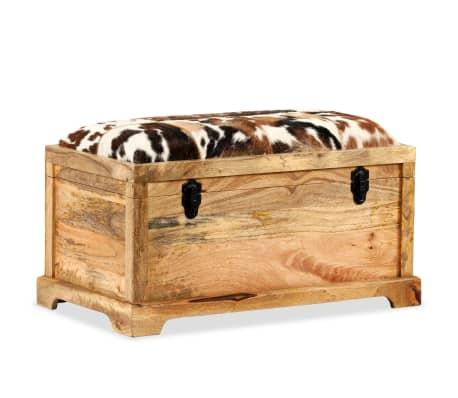 vidaXL Lavice z masivního mangového dřeva a pravé kůže 80 x 44 x 44 cm[13/15]