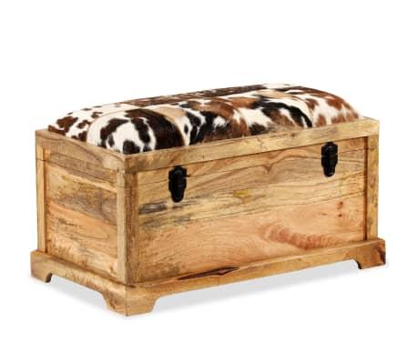 vidaXL Klupa za pohranu od prave kože i masivnog drva manga 80 x 44 x 44 cm[14/15]