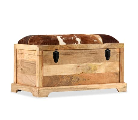 vidaXL Lavice z masivního mangového dřeva a pravé kůže 80 x 44 x 44 cm[10/15]