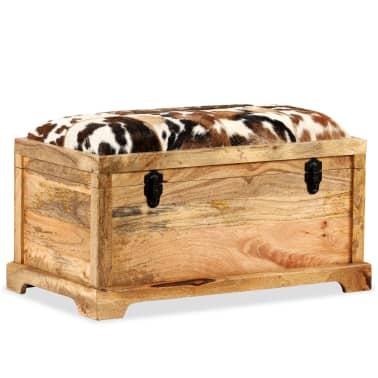 vidaXL Klupa za pohranu od prave kože i masivnog drva manga 80 x 44 x 44 cm[13/15]