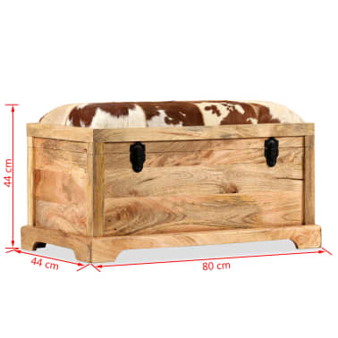 vidaXL Lavice z masivního mangového dřeva a pravé kůže 80 x 44 x 44 cm[15/15]