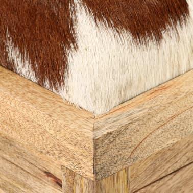 vidaXL Klupa za pohranu od prave kože i masivnog drva manga 80 x 44 x 44 cm[3/15]