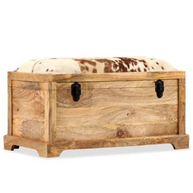 vidaXL Klupa za pohranu od prave kože i masivnog drva manga 80 x 44 x 44 cm[9/15]