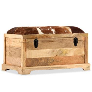 vidaXL Klupa za pohranu od prave kože i masivnog drva manga 80 x 44 x 44 cm[10/15]