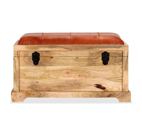 vidaXL Klupa za pohranu od prave kože i masivnog drva manga 80 x 44 x 44 cm[2/15]