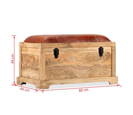 vidaXL Klupa za pohranu od prave kože i masivnog drva manga 80 x 44 x 44 cm[15/15]