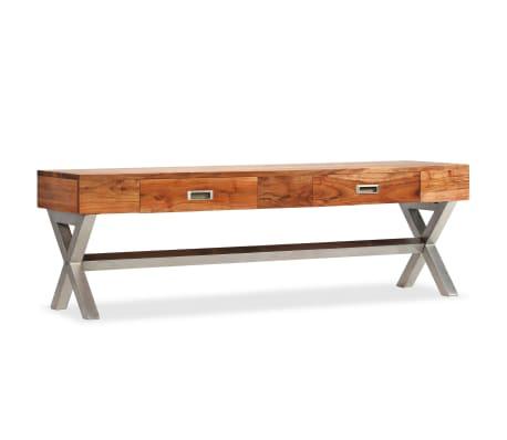 vidaXL Tv-meubel 140 cm massief acaciahout met sheesham afwerking[10/14]