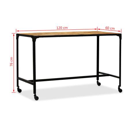 vidaXL Jídelní stůl masivní mangovníkové dřevo a ocel 120 x 60 x 76 cm[8/13]