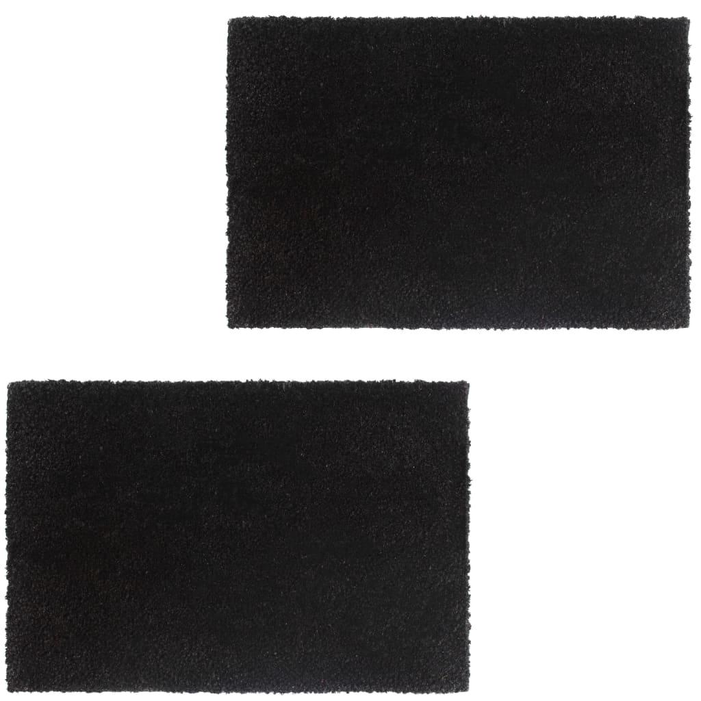 999132648 Fußmatten 2 Stk. Kokosfaser 17 mm 50 x 80 cm Schwarz
