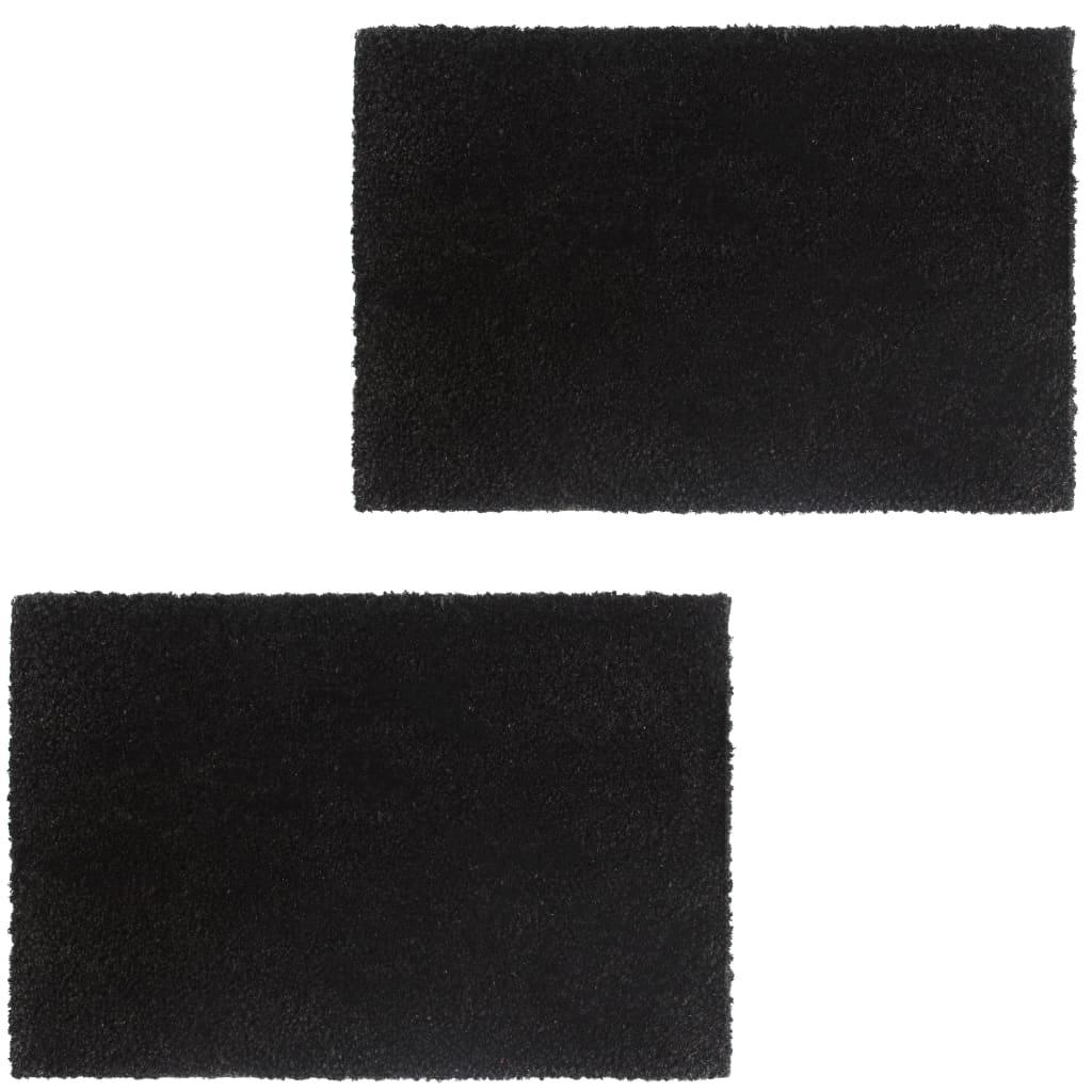 999132656 Fußmatten 2 Stk. Kokosfaser 24 mm 50 x 80 cm Schwarz