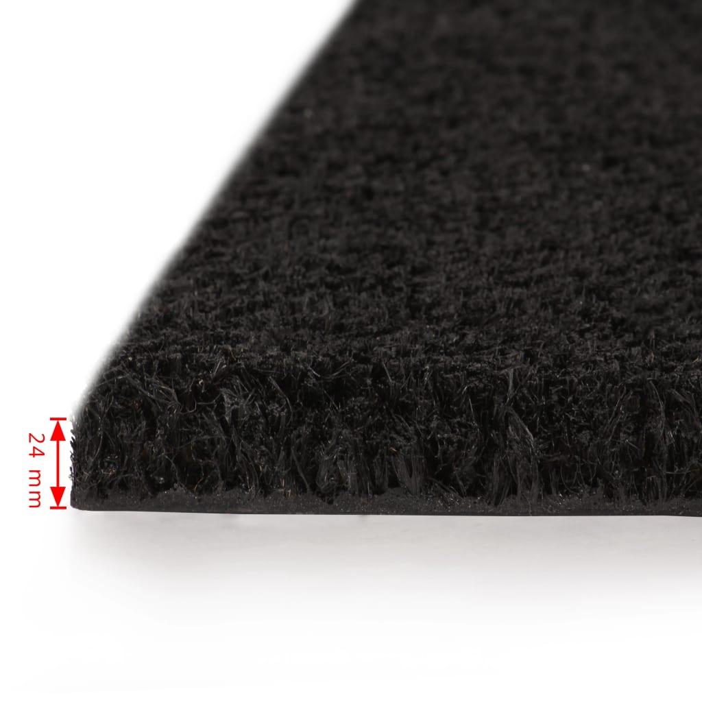 vidaXL Rohožky z kokosových vláken 2 ks 24 mm 50 x 80 cm černé