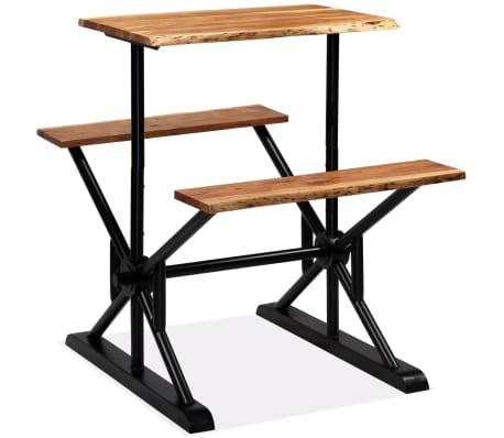 vidaXL Stolik barowy z ławkami, lite drewno akacjowe, 80x50x107 cm