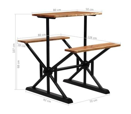 vidaXL Stolik barowy z ławkami, lite drewno akacjowe, 80x50x107 cm[13/13]