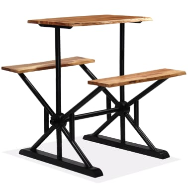 vidaXL Stolik barowy z ławkami, lite drewno akacjowe, 80x50x107 cm[10/13]