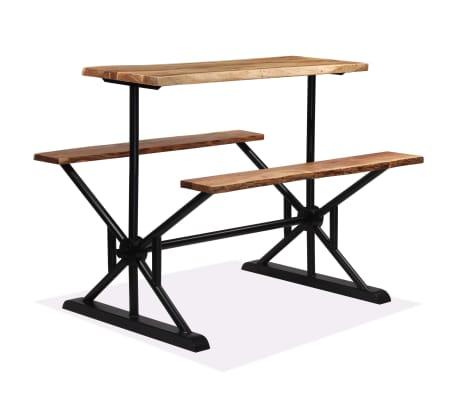 vidaXL Barový stůl s lavicemi masivní akáciové dřevo 120 x 50 x 107 cm