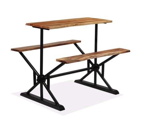 vidaXL Table de bar avec bancs Bois massif d'acacia 120 x 50 x 107 cm[12/13]