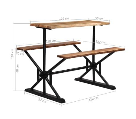vidaXL Table de bar avec bancs Bois massif d'acacia 120 x 50 x 107 cm[13/13]