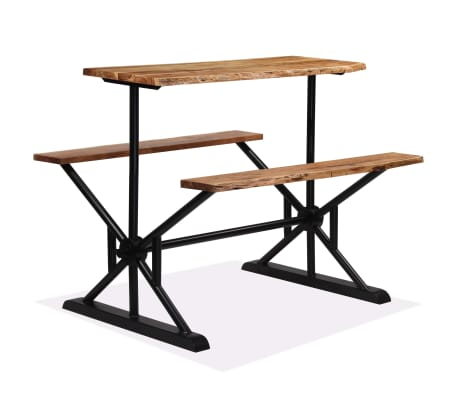 vidaXL Table de bar avec bancs Bois massif d'acacia 120 x 50 x 107 cm[8/13]