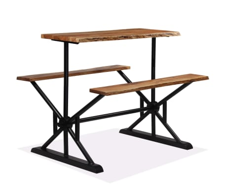 vidaXL Table de bar avec bancs Bois massif d'acacia 120 x 50 x 107 cm[9/13]