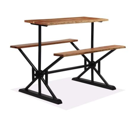 vidaXL Table de bar avec bancs Bois massif d'acacia 120 x 50 x 107 cm[10/13]