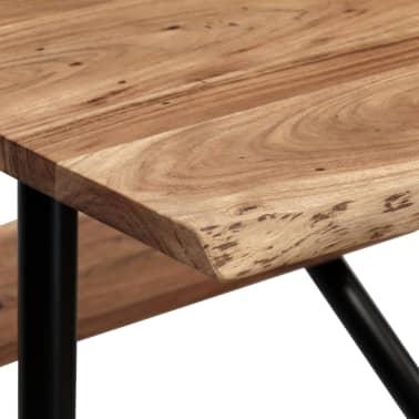 vidaXL Table de bar avec bancs Bois massif d