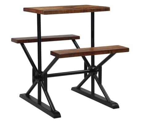 vidaXL bāra galds ar soliem, 80x50x107 cm, pārstrādāts masīvkoks