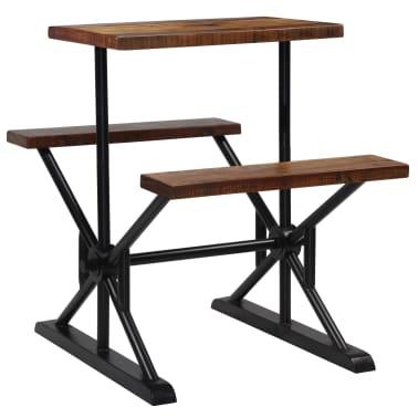 vidaXL Mesa de bar con bancos madera maciza reciclada 80x50x107 cm[1/13]