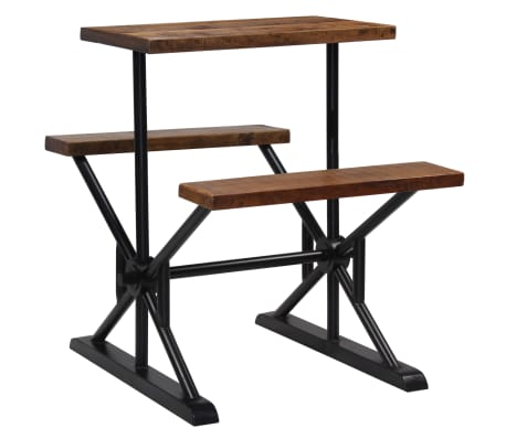 vidaXL Mesa de bar con bancos madera maciza reciclada 80x50x107 cm[11/13]