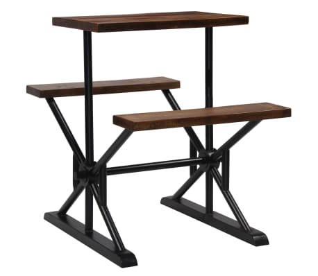 vidaXL Mesa de bar con bancos madera maciza reciclada 80x50x107 cm[12/13]