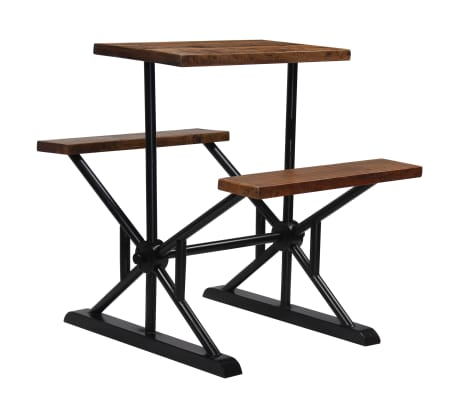 vidaXL Mesa de bar con bancos madera maciza reciclada 80x50x107 cm[8/13]