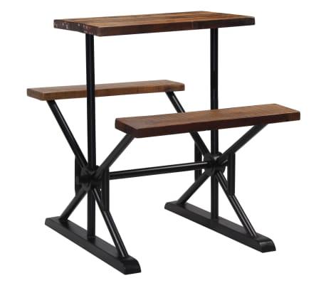 vidaXL Mesa de bar con bancos madera maciza reciclada 80x50x107 cm[10/13]