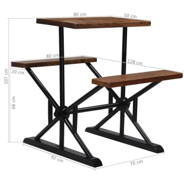 vidaXL Mesa de bar con bancos madera maciza reciclada 80x50x107 cm[13/13]