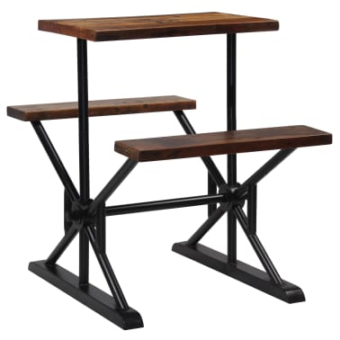 vidaXL Mesa de bar con bancos madera maciza reciclada 80x50x107 cm[9/13]