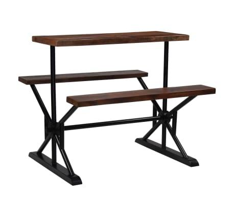 vidaXL Barska miza s klopmi iz trdnega predelanega lesa 120x50x107 cm[11/13]