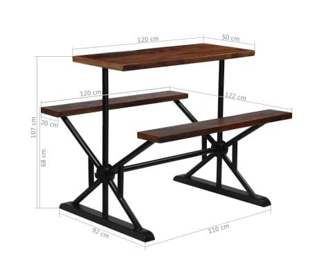 vidaXL Barska miza s klopmi iz trdnega predelanega lesa 120x50x107 cm[13/13]