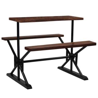 vidaXL Barska miza s klopmi iz trdnega predelanega lesa 120x50x107 cm[8/13]