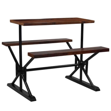 vidaXL Barska miza s klopmi iz trdnega predelanega lesa 120x50x107 cm[9/13]