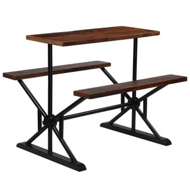 vidaXL Barska miza s klopmi iz trdnega predelanega lesa 120x50x107 cm[10/13]