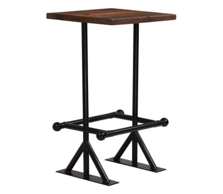 vidaXL Stolik barowy, lite drewno z odzysku, ciemny brąz, 60x60x107 cm[11/12]
