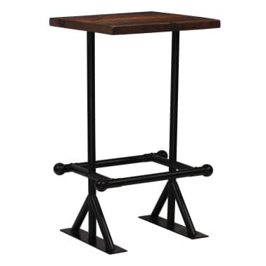 vidaXL Stolik barowy, lite drewno z odzysku, ciemny brąz, 60x60x107 cm[7/12]