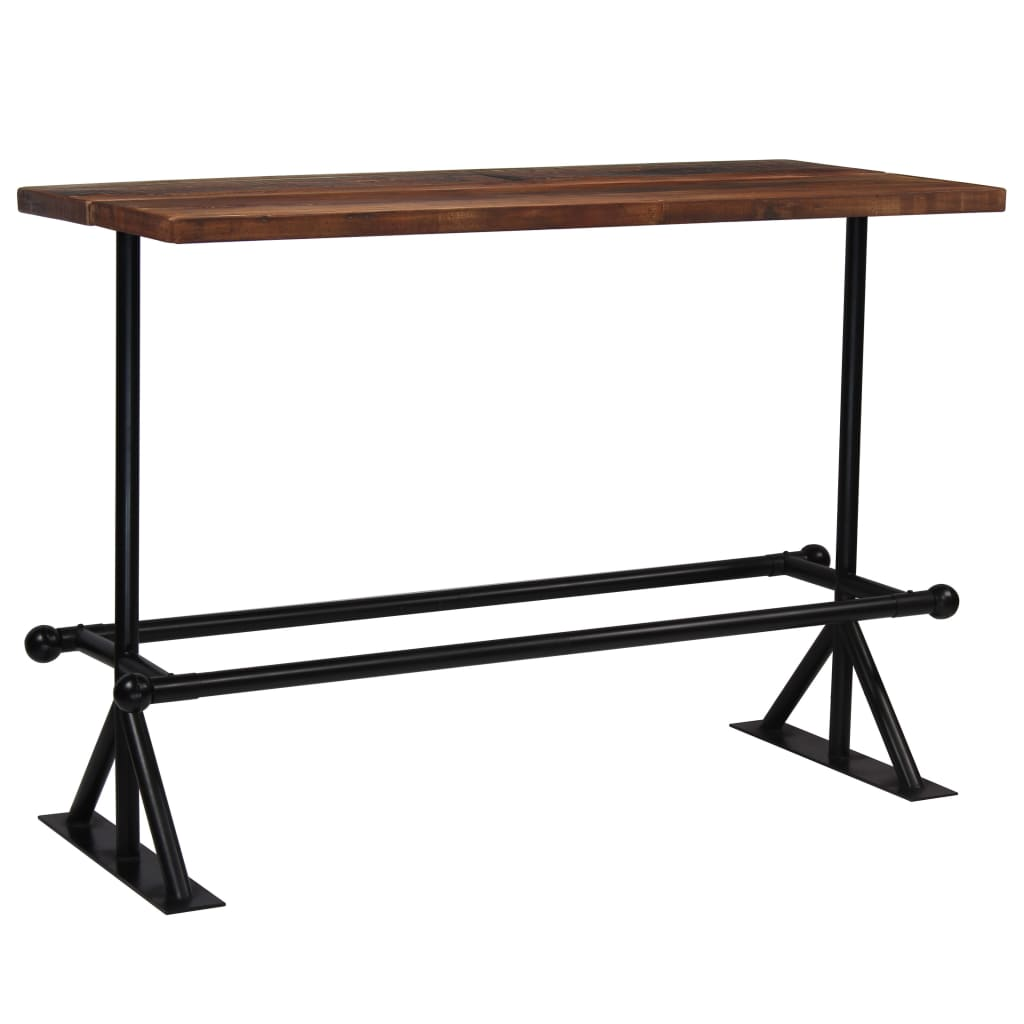 vidaXL Τραπέζι Μπαρ Σκούρο Καφέ 150x70x107 εκ. Μασίφ Ανακυκλωμένο Ξύλο