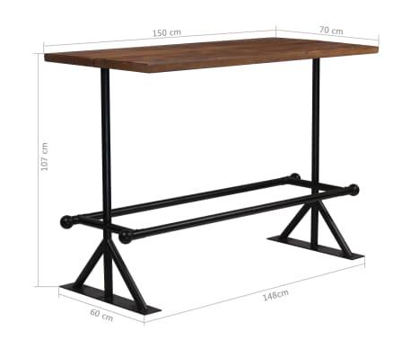 vidaXL Barový stůl masivní recyklované dřevo 150x70x107 cm tmavě hnědý[12/12]