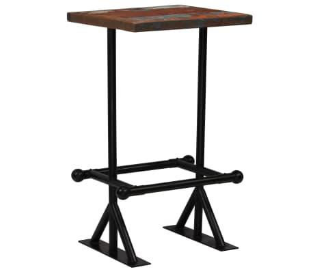 vidaXL Barska miza iz trdnega predelanega lesa 60x60x107 cm večbarvna[9/12]
