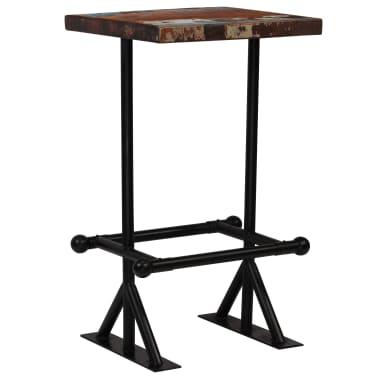 vidaXL Barska miza iz trdnega predelanega lesa 60x60x107 cm večbarvna[11/12]