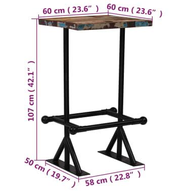vidaXL Barska miza iz trdnega predelanega lesa 60x60x107 cm večbarvna[12/12]