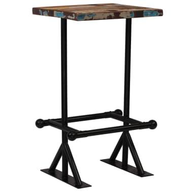 vidaXL Barska miza iz trdnega predelanega lesa 60x60x107 cm večbarvna[8/12]