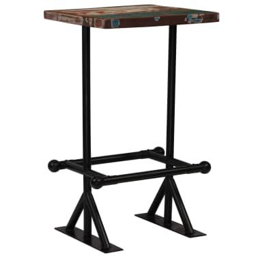 vidaXL Barska miza iz trdnega predelanega lesa 60x60x107 cm večbarvna[10/12]
