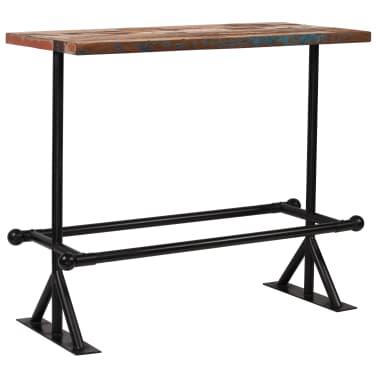 vidaXL Table de bar Bois massif recyclé Multicolore 120 x 60 x 107 cm[1/13]
